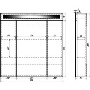 Зеркальный шкаф Dreja Uni 80 (99.9003) зеркало dreja uni 75 99 9005