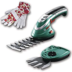 Аккумуляторные ножницы Bosch Isio + кусторез + перчатки Laura Ashley