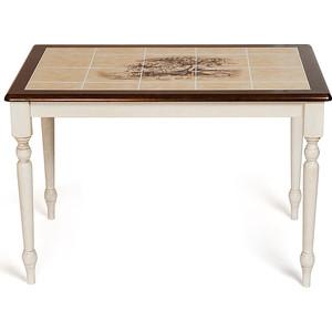 Стол TetChair CT 3045P с плиткой, Античный белый/Тёмный Дуб, рисунок-Дерево tetchair обеденный стол tetchair эмир ст 3760р leg d античный белый темный дуб