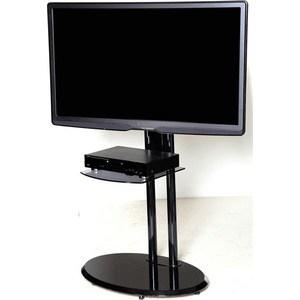 Тумба под телевизор Allegri Стелла 2 с полкой каркас черный стекло черное