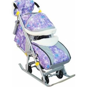 Санки-коляска Галактика Детям-1, на больших мягких колесах + сумка + муфта, цвет Ёлки на фиолетовом (СКД-1)
