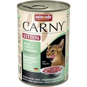 Консервы Animonda CARNY Kitten с говядиной, курицей и кроликом для котят 400г (83713) консервы gimborn gimpet shinecat kitten tuna тунец для котят 70г 413358