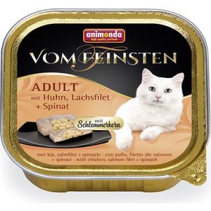Консервы Animonda Vom Feinsten Adult меню для гурманов с курицей, филе лосося и шпинатом для привередливых кошек 100г (83261)