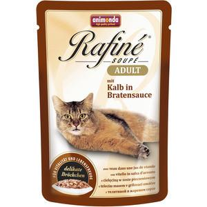 Паучи Animonda Rafine Soup Adult с телятиной в жареном соусе для кошек 100г (83656) prevital консервированный корм для кошек prevital classic 100 гр в соусе с телятиной