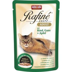Паучи Animonda Rafine Soup Adult с говядиной, мясом гуся и яблоком для кошек 100г (83653)  недорого