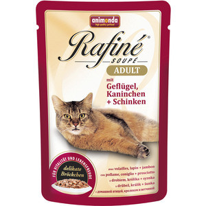 Паучи Animonda Rafine Soup Adult с мяса домашней птицей, кроликом и ветчиной для кошек 100г (83655) консервы gourmet gold паштет с кроликом для кошек 85г 12182548