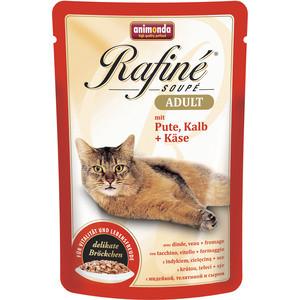 Паучи Animonda Rafine Soup Adult с индейкой, телятиной и сыром для кошек 100г (83654)  недорого