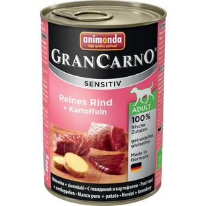 Консервы Animonda Vom Feinsten Gran Carno Sensitiv c говядиной и картофелем для собак с чувствительным пищеварением 400г (82409) консервы animonda vom feinsten gran carno sensitiv c курицей для собак с чувствительным пищеварением 400г 82410