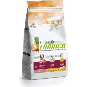 Сухой корм Trainer Fitness3 No Gluten Medium/Maxi Adult Lamb&Rice без глютена с ягненком и рисом для собак средних и крупных пород