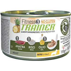Консервы Trainer Fitness3 No Gluten Mini Adult Duck&Rice без глютена с уткой и рисом для собак мелких пород 150г ywhuansen 2018 new rainbow cotton skirt sequin embroidery baby girl skirt cute rabbit princess kid clothes tutu skirt tulle pink
