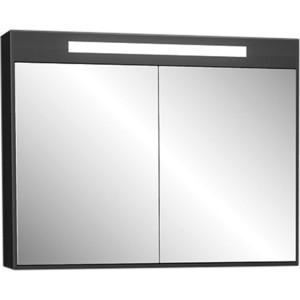 Зеркало Меркана Рондо черное со светильником, выкл. + розетка (30661)