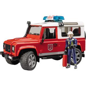 Bruder Внедорожник Land Rover Defender Station Wagon Пожарная с фигуркой (02-596) игрушка bruder land rover defender внедорожник с прицепом коневозкой и лошадью 02 592