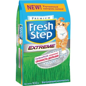 Наполнитель Fresh Step Extreme Carbon plus тройной контроль запаха впитывающий с ароматизатором для кошек 9,52кг