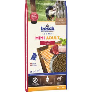 Сухой корм Bosch Petfood Mini Adult Lamb & Rice с ягнёнком и рисом для собак мелких пород 15кг сухой корм happy dog mini adult 1 10kg neuseeland lamb