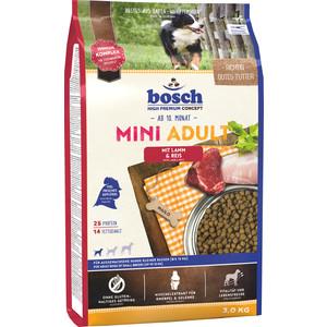 Сухой корм Bosch Petfood Mini Adult Lamb & Rice с ягнёнком и рисом для собак мелких пород 3кг сухой корм happy dog mini adult 1 10kg neuseeland lamb