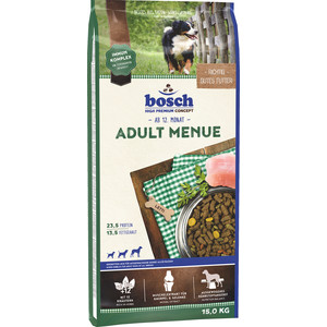 Сухой корм Bosch Petfood Adult Menu для взрослых собак всех пород 15кг корм для птиц vitakraft menu vital для волнистых попугаев основной 1кг