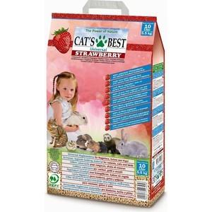 Наполнитель Cat's Best Universal Strawberry древесный впитывающий с ароматом клубники для кошек и грызунов 5,5 (10л)