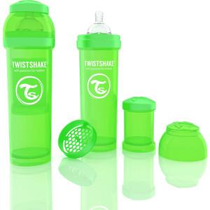 Twistshake Антиколиковая бутылочка для кормления 330 мл. Зелёная (780016) twistshake антиколиковая бутылочка для кормления 260 мл синяя 780008
