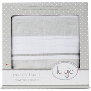 Lulujo Детское одеялое Серые полоски Grey Stripe, 96х96 см. (45304)