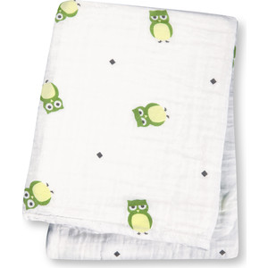 Lulujo Хлопковая муслиновая простынка (пелёнка) Сова в тебя влюблена Owl Always Love You - Зелёная Green, 120х120 см. (45012)