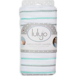 Lulujo Хлопковая муслиновая простынка (пелёнка) Аква грязные полоски Aqua Messy Stripe, 120х120 см. (45401)