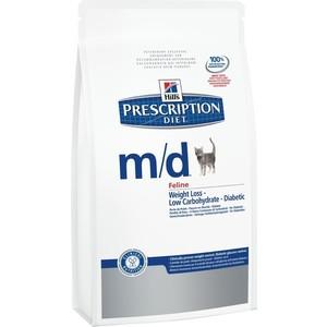 Сухой корм Hill's Prescription Diet m/d Feline Weight Loss диета при лечении сахарного диабета и ожирения для кошек 1,5кг (8685) сухой корм hill s prescription diet s d feline urinary диета при лечении мкб для кошек 5кг 4322