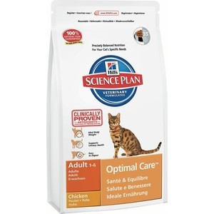 Hill's Science Plan Optimal Care Adult with Chicken с курицей для кошек 10кг (4296) корм hills science plan optimal care adult лосось 85g для кошек 4535