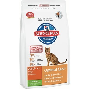 Hill's Science Plan Optimal Care Adult with Rabbit с кроликом для кошек 5кг (5150) корм hills science plan optimal care adult лосось 85g для кошек 4535