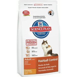 Сухой корм Hill's Science Plan Hairball Control Adult with Chicken с курицей вывод шерсти из желудка для кошек 1,5кг (7608)