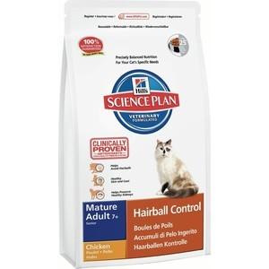 Сухой корм Hill's Science Plan Hairball Control Mature Adult 7+ with Chicken с курицей вывод шерсти из желудка для пожилых кошек 1,5кг (7610)