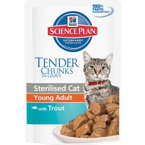 Паучи Hill's Science Plan Optimal Care Young Adult with Trout с форелью для стерилизованных кошек от 6 мес до 6 лет 85г (3767) корм hills science plan optimal care adult лосось 85g для кошек 4535
