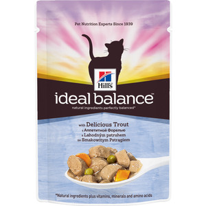 Паучи Hill's Ideal Balance with Delicious Trout с аппетитной форелью и овощами для кошек 82г (10026) 800g electronic balance measuring scale with different units counting balance and weight balance