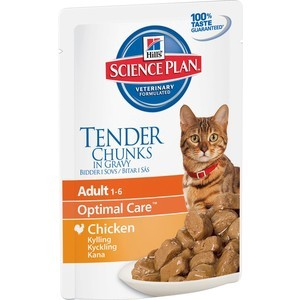 Паучи Hill's Science Plan Optimal Care Adult Chicken Chunks in Gravy с курицей кусочки в подливке кошек 85г (2104) витамины здоровья