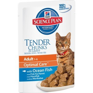 Hill's Science Plan Optimal Care Adult Ocean Fish Tender Chuks in Gravy с рыбой кусочки в подливке для кошек 85г (2105) корм hills science plan optimal care adult лосось 85g для кошек 4535