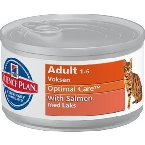 Консервы Hill's Science Plan Optimal Care Adult with Salmon с лососем для кошек 85г (4535) влажный корм для кошек hill s science plan feline adult chicken 12x0 085 кг