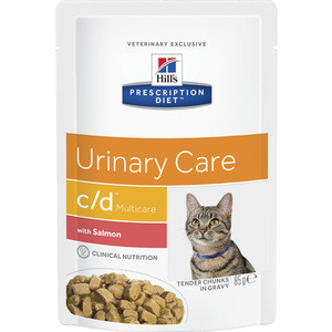 Паучи Hill's Prescription Diet c/d Urinary Care Milticare with Salmon с лососем диета при цистите для кошек 85г (1882) цена