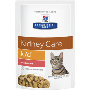 Паучи Hill's Prescription Diet k/d Kidney Care with Salmon с лососем диета при лечении заболеваний почек и МКБ для кошек 85г (3410) сухой корм hill s prescription diet k d kidney care with chicken с курицей диета при заболевании почек и мкб для кошек 5кг 4308