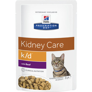 Паучи Hill's Prescription Diet k/d Kidney Care with Beef с говядиной диета при лечении заболеваний почек и МКБ для кошек 85г (3411) сухой корм hill s prescription diet k d kidney care with chicken с курицей диета при заболевании почек и мкб для кошек 5кг 4308