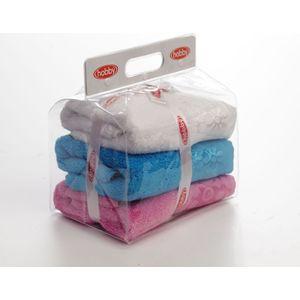 Набор из 3 полотенец Hobby home collection Dora 50x90 3 штуки белый, розовый, бирюзовый (1501000442) набор из 3 полотенец do and co milano пудра махра жаккард 50x90 8579пудра