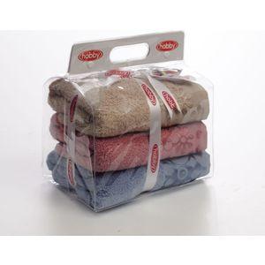 Набор из 3 полотенец Hobby home collection Dora 50x90 3 штуки голубой/бежевый/розовый (1501000443) трусики love lace 3 штуки quelle lascana 718021