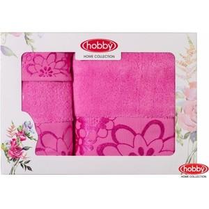 Набор из 3 полотенец Hobby home collection Dora 30x50/50x90/70x140 розовое (1501001218) набор кухонных полотенец pupilla miranda 3d бамбук 30x50 3 штуки 8679