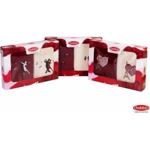 где купить  Набор из 2 полотенец Hobby home collection Love 50x90 2 штуки кремовый/бордовый (1501000506)  по лучшей цене