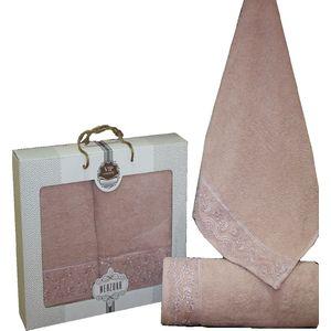 Набор из 2 полотенец Merzuka Elit (50х90/70х140) (8440 тёмно-розовый)