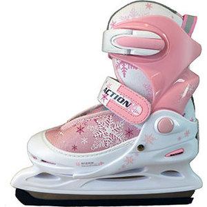 Коньки ледовые раздвижные Action PW-211F-1 р. 34-37 (розовый/белый) коньки ледовые женские action sporting goods раздвижные цвет белый красный pw 113 размер 37 40