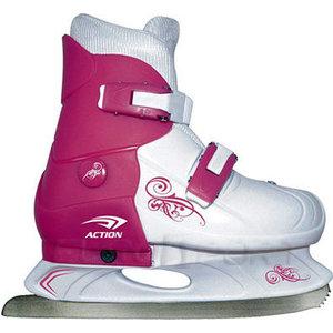 Коньки ледовые раздвижные Action PW-219-1 р. 37-40 (розовый/белый) коньки ледовые для девочки ice blade taffy раздвижные цвет розовый желтый белый размер l 38 41