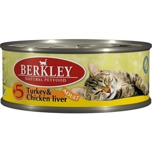 Консервы Berkley Adult Turkey & Chicken Liver № 5 с индейкой и куриной печенью для взрослых кошек 100г (75104)  недорого