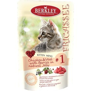 Паучи Berkley Fricasse Kitten Menu Chicken&Veal with Berries in natural Jelly № 1 с цыпленком,телятиной и ягодами в желе для котят 100г(75270) coq10 60 softgels 50 mg by vitabase