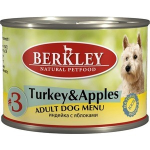 Консервы Berkley Adult Dog Menu Turkey & Apples № 3 с индейкой и яблоком для взрослых собак 200г (75001)  недорого