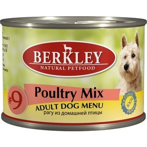 Консервы Berkley Adult Dog Menu Poultry Mix № 9 рагу из домашней птицы для взрослых собак 200г (75005) купить