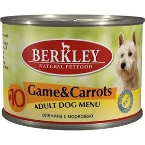 Консервы Berkley Adult Dog Menu Game & Carrots № 10 с дичью и морковью для взрослых собак 200г (75006)  недорого